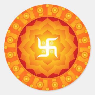 Spiritual Lotus Swastika Design Classic Round Sticker