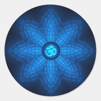 Spiritual Om Mantra Round Sticker