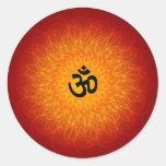 Spiritual Om On Mandala Round Sticker