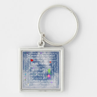 Spiritual positive affirmations Silver-Colored square key ring