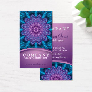 Spiritual purple flower, sea of blue business card
