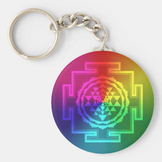 Spiritual Sri Yantra - Rainbow Key Ring
