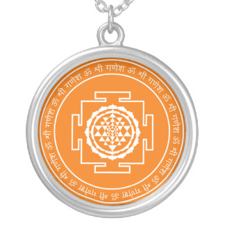 Spiritual Sri Yantra Silver Plated Necklace