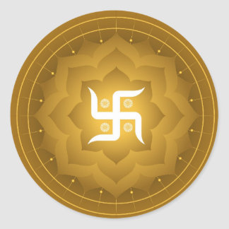 Spiritual Swastika On Lotus Classic Round Sticker