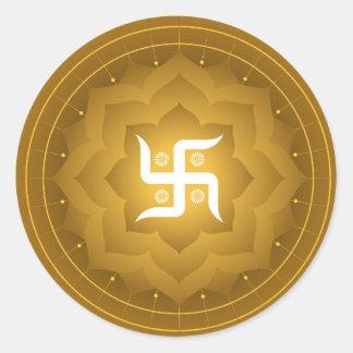 Spiritual Swastika On Lotus Round Stickers