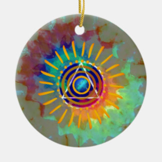 Spiritual Tyedye Round Ceramic Decoration