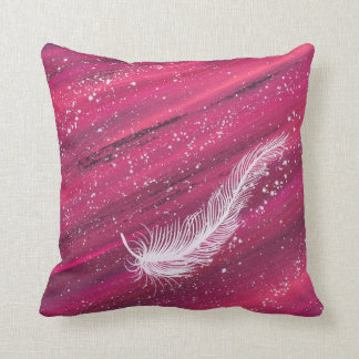 Spiritual white feather with pink swirl painting throw pillow