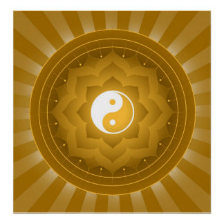 Spiritual Yin Yang On Lotus Background Poster