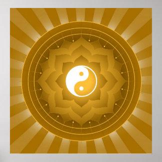 Spiritual Yin Yang On Lotus Background Poster