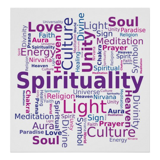 Spirituality Word Cloud Pink Purple Colours Poster