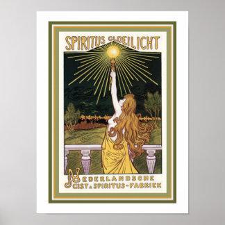 Spiritus Gloelicht Art Nouveau Ad Poster 12 x 16