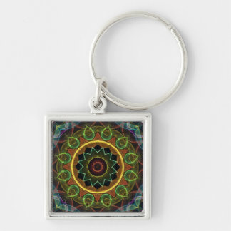 spirograph egg shaped leaves Silver-Colored square key ring