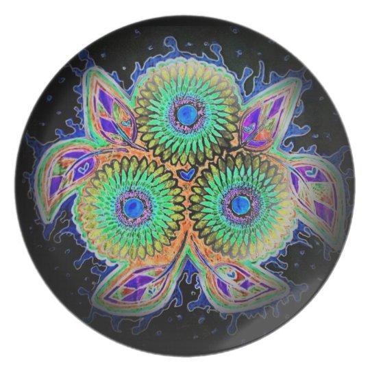 Spirograph floral dinner plate