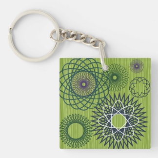 Spirograph Geometric Pattern Blue Green Double-Sided Square Acrylic Key Ring