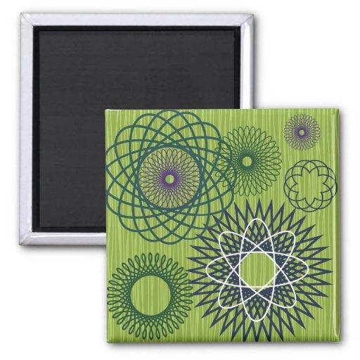 Spirograph Geometric Pattern Blue Green Fridge Magnets