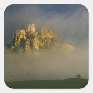 Spissky hrad in mist, Slovakia 2 Square Sticker