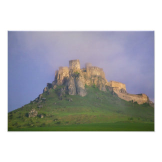 Spissky hrad in mist, Slovakia Photographic Print