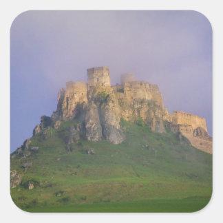 Spissky hrad in mist, Slovakia Square Sticker