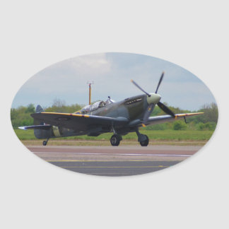 Spitfire After Landing Oval Sticker
