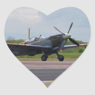 Spitfire After Landing Heart Sticker