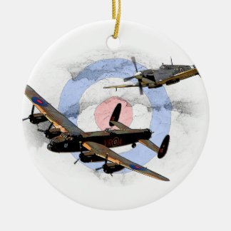 Spitfire and Lancaster Round Ceramic Decoration