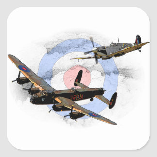Spitfire and Lancaster Square Sticker