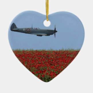 Spitfire and Poppies Ceramic Heart Decoration