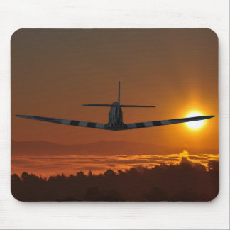 Spitfire flies into the sunrise mouse mat