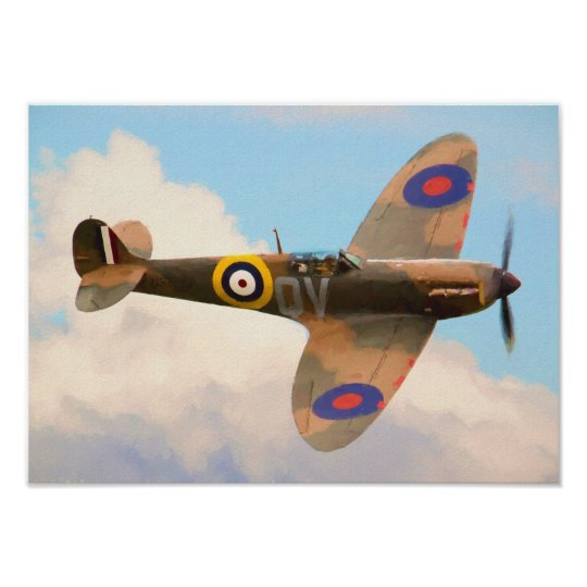 Spitfire In The Clouds Poster Zazzle Co Uk