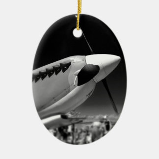 Spitfire Mk 1A aircraft in black and white Christmas Ornament