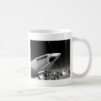 Spitfire Mk 1A aircraft in black and white Coffee Mug