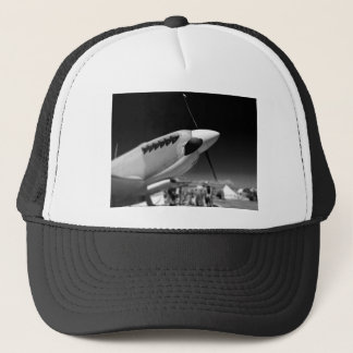 Spitfire Mk 1A aircraft in black and white Trucker Hat