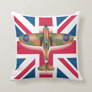 Spitfire on the flag throw pillow