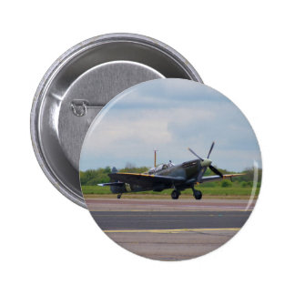 Spitfire On The Runway 6 Cm Round Badge