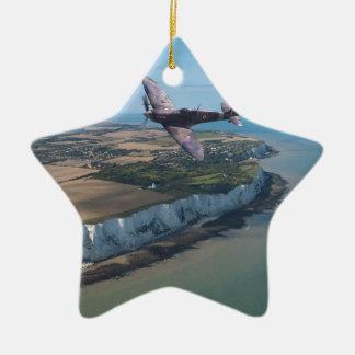 Spitfire over England Ceramic Star Decoration