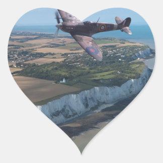 Spitfire over England Heart Sticker