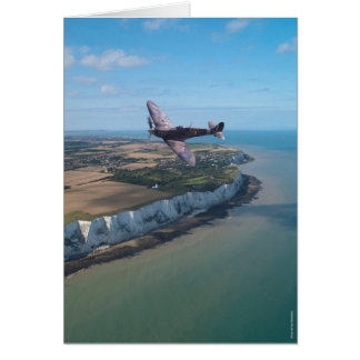 Spitfire over the English coast. Card