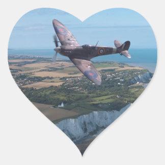 Spitfire over the English coast. Heart Sticker