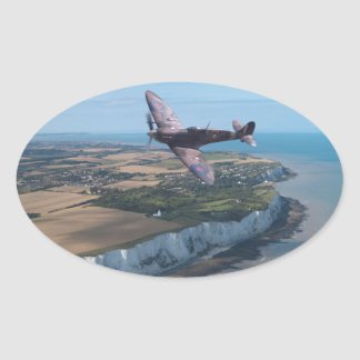 Spitfire over the English coast. Oval Sticker