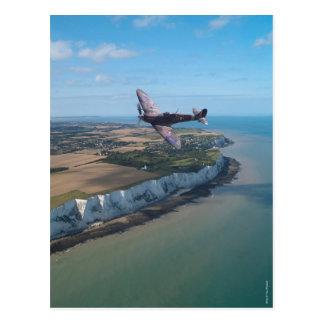 Spitfire over the English coast. Postcard