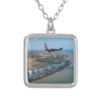 Spitfire over the English coast. Silver Plated Necklace