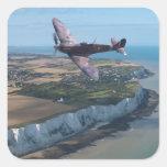 Spitfire over the English coast. Square Sticker