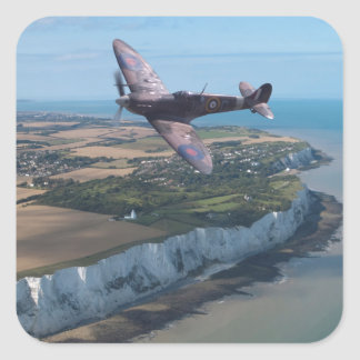 Spitfire over the English coast. Square Sticker