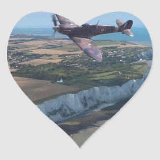 Spitfire over the English coast. Heart Sticker