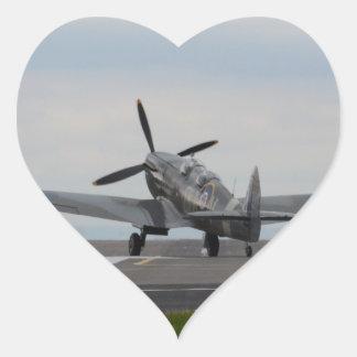 Spitfire Ready For Takeoff Heart Sticker