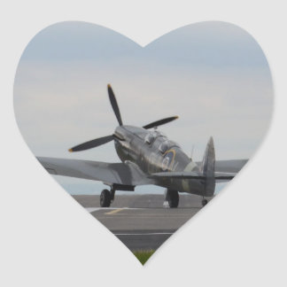 Spitfire Ready For Takeoff Heart Sticker