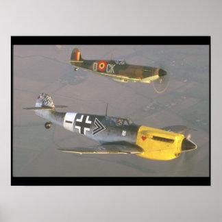 Spitfire (top) and Messerschmitt_Military Aircraft Poster