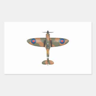 spitfire top view rectangular sticker