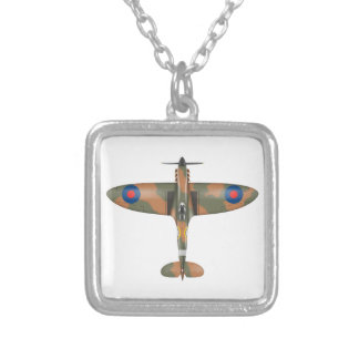 spitfire top view silver plated necklace