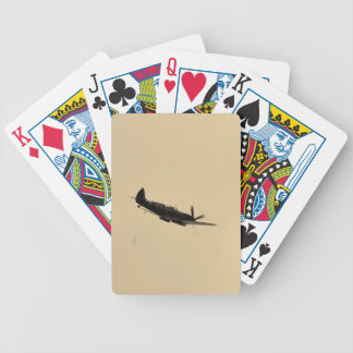 Spitfire Trainer In Flight Bicycle Playing Cards